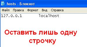 Чистый файл hosts в Windows XP.